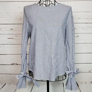 J.O.A. Los Angeles Striped Tie Bell Sleeve Top